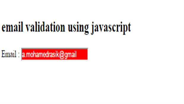 invalid email validation in javascript