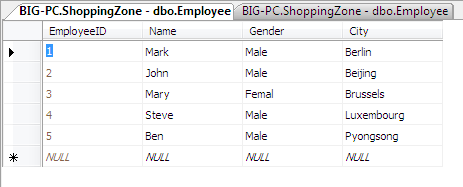 xml data updated to database table employee