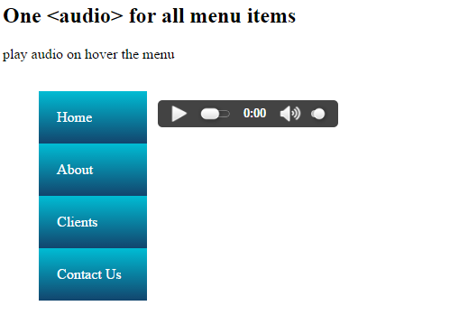 play audio on hover using jQuery