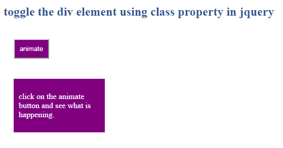 toggle the div element using class property in jquery