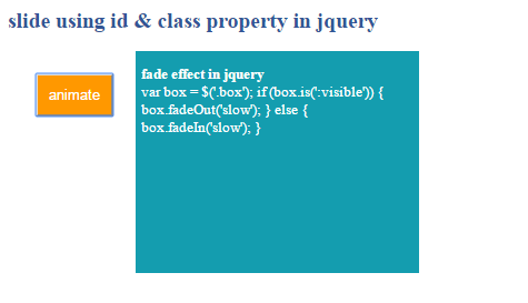How to create fade() effect using jquery?