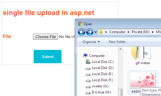create single fileUpload using asp.net MVC 4