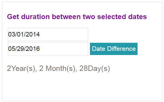 Get duration between two dates
