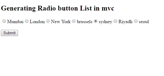 Radio button mvc
