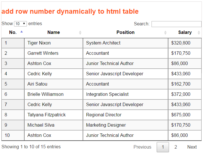 How to add row number dynamically to jquery datatable for Add th table jquery