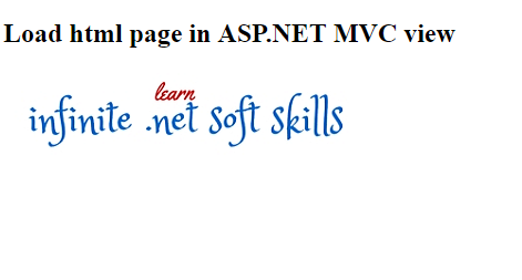 Load html page in ASP.NET MVC view