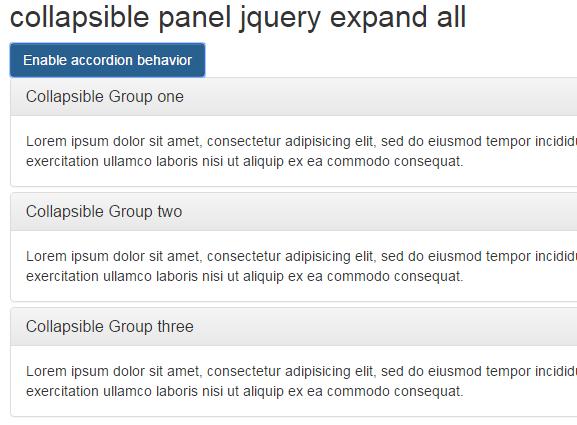 Jquery Accordion Expand All Div Example Code