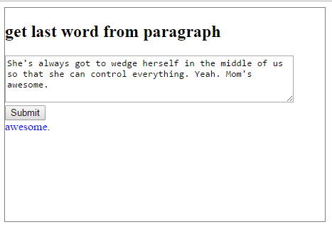 get last word using jquery lastindexof and jQuery pop