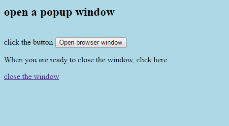 How to create popup window in JavaScript (Open another window)?