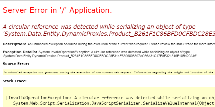 A circular reference was detected while serializing an object of type