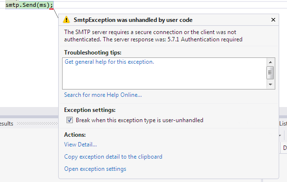 smtp server requires a secure connection 5.5 1