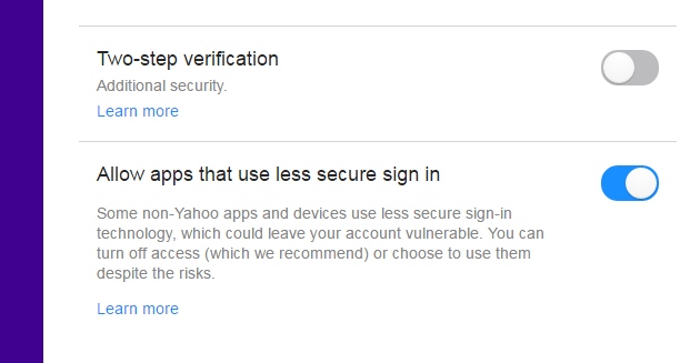 enable Allow apps that use less secure sing in