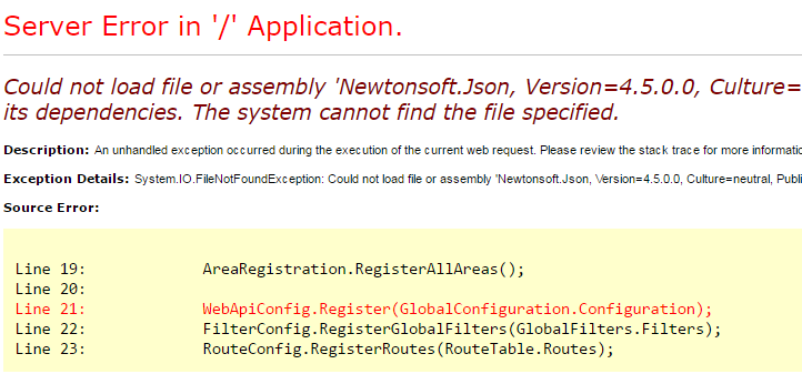 Could not load file or assembly Newtonsoft.Json