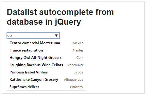Datalist autocomplete from database in jQuery
