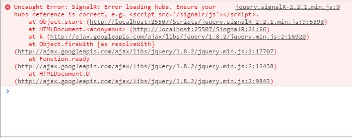 Uncaught Error SignalR Error loading hubs