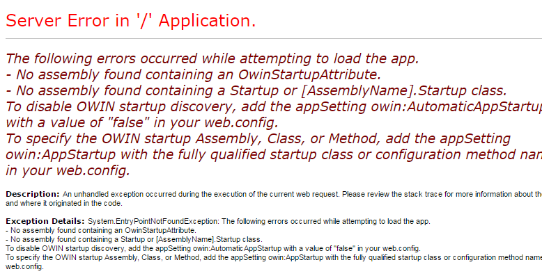 No assembly found containing a Startup or [AssemblyName].Startup class