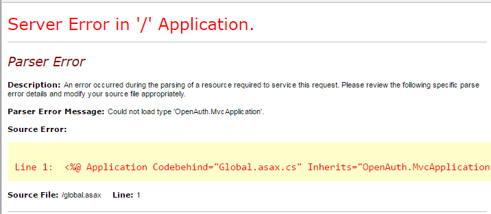 Could not load type OpenAuth.MvcApplication