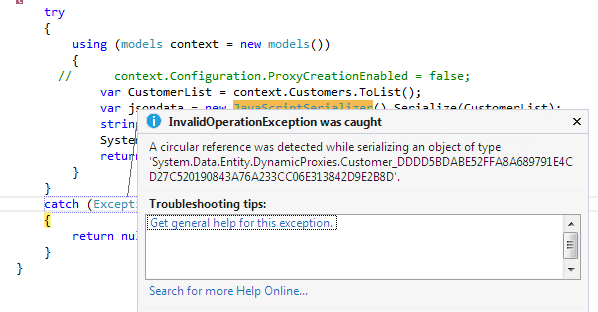 c# serialize object-A circular reference was detected while