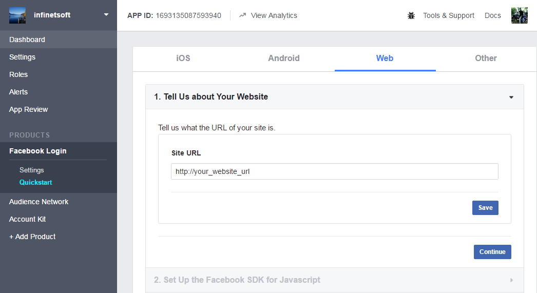 how to set add for a secon website on facebook
