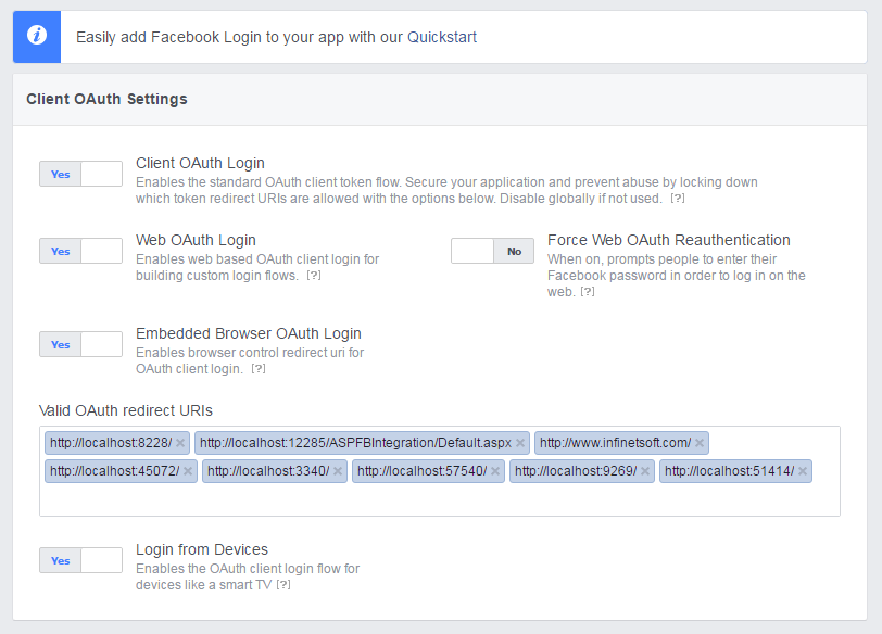 Facebook app redirect url