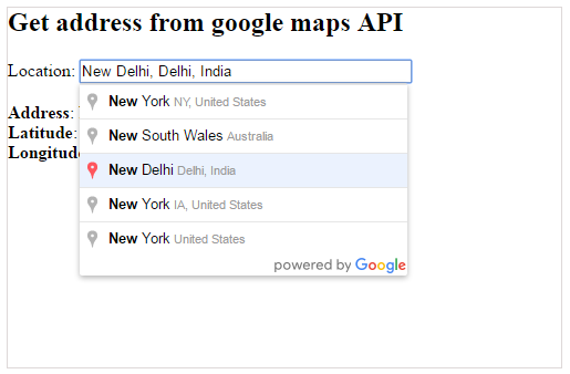 google maps show address