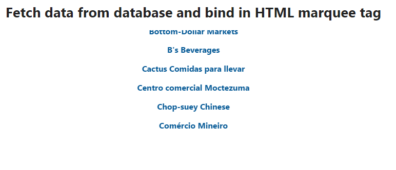 Fetch data from database and bind in marquee html tag