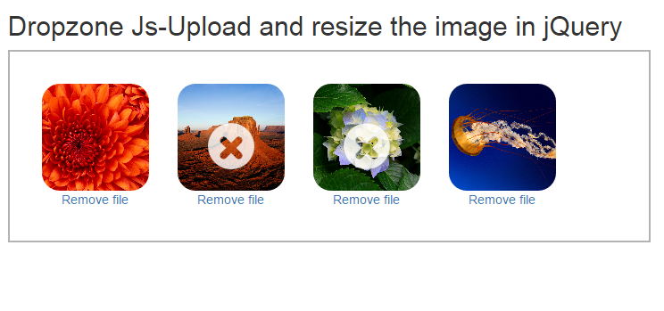 Upload and resize the image in jQuery Dropzone