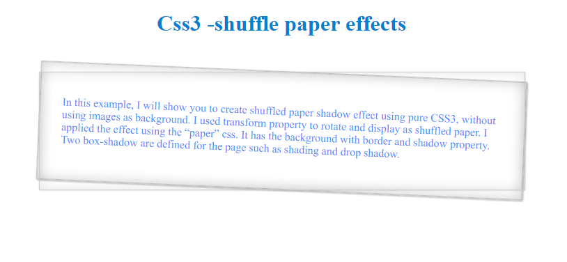 paper shadow box effect css3