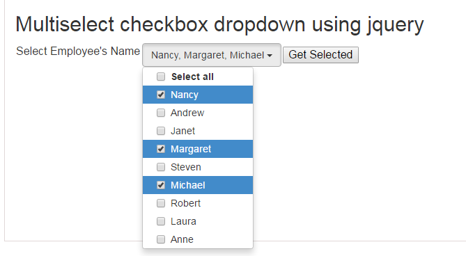 jquery multiselect checkbox dropdown