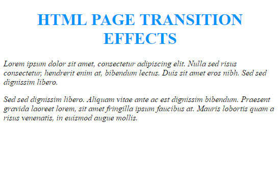 web page transitions